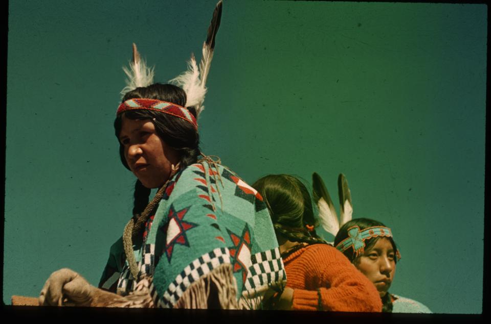 V683  Nora (Wesley) Stevens & Lily (Wildman) Wesley, Stoney Nakoda. Ca. 1945