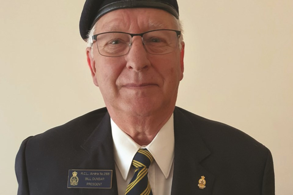 Airdrie Legion President Bill Dunbar was recognized with a medal for 50 years of service with a number of legions across Canada. Photo Submitted/For Airdrie City View