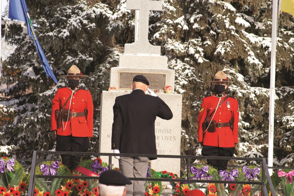 Airdrie residents braved cold weather Nov. 11 to gather at the local cenotaph for a Remembrance Day ceremony. Photo by Jordan Stricker/Airdrie City View