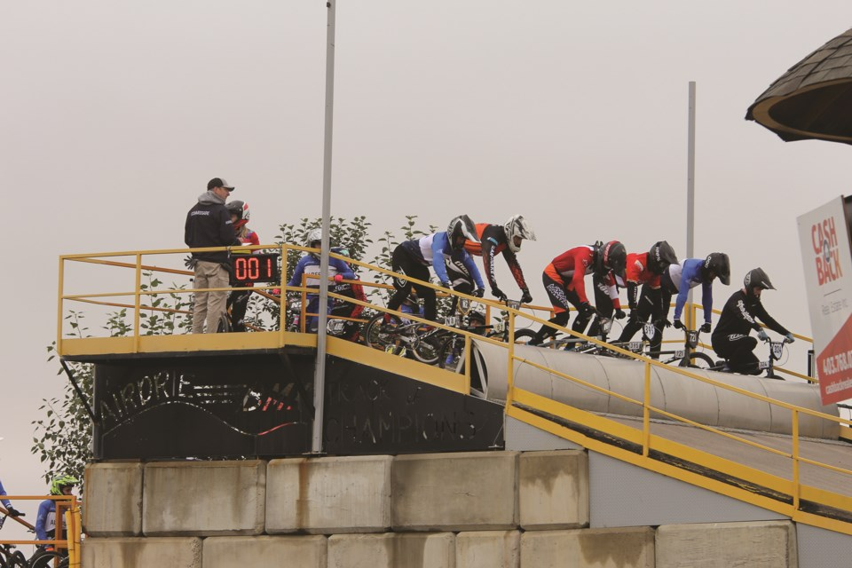 Contestants line up at the start of the Airdrie BMX race track during a provincial championship on Sept. 11. Photo by Carmen Cundy/Airdrie City View