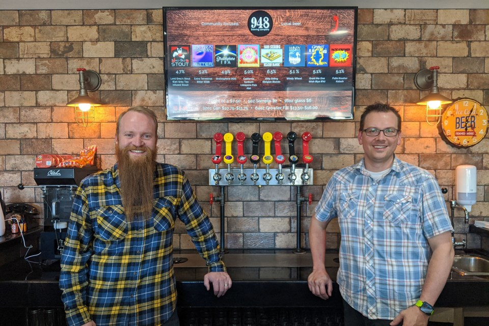 David Schroter (left) and Kyle Wudrich, owner/operators of 948 Brewing Company Ltd., focused on expanding their beer production line when the pandemic hit. Photo supplied