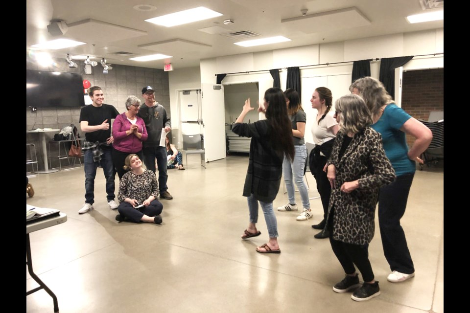 """Cast members from Nose Creek Players' latest production,  """"Charlotte's Web,"""" prepare for the May 23 to 25 performance.  Photo Submitted/For Rocky View Publishing"""