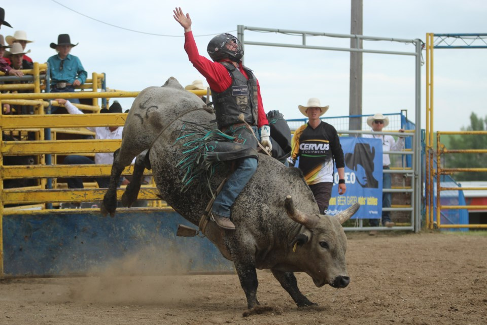 The Airdrie Pro Rodeo celebrated Canada Day by hosting its Bull Riding Bonanza. Photo by Nathan Woolridge/Rocky View Publishing
