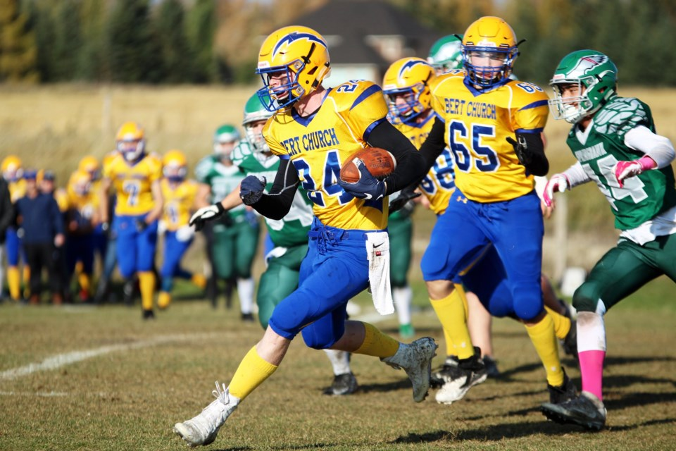 The Bert Church Chargers downed the Springbank Phoenix 21-13 Oct. 4. Photo by Scott Strasser/Rocky View Publishing