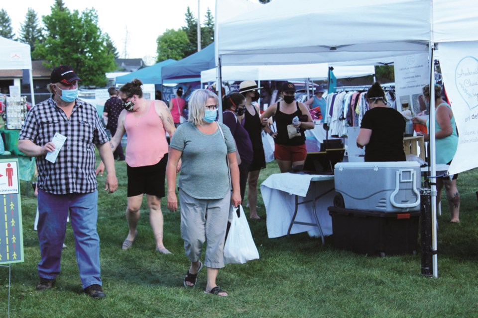 The Airdrie Farmers Market, held every Wednesday from 3:30 to 7 p.m. at Jensen Park, kicked off its 2021 season on June 2. Photo by Scott Strasser/Airdrie City View