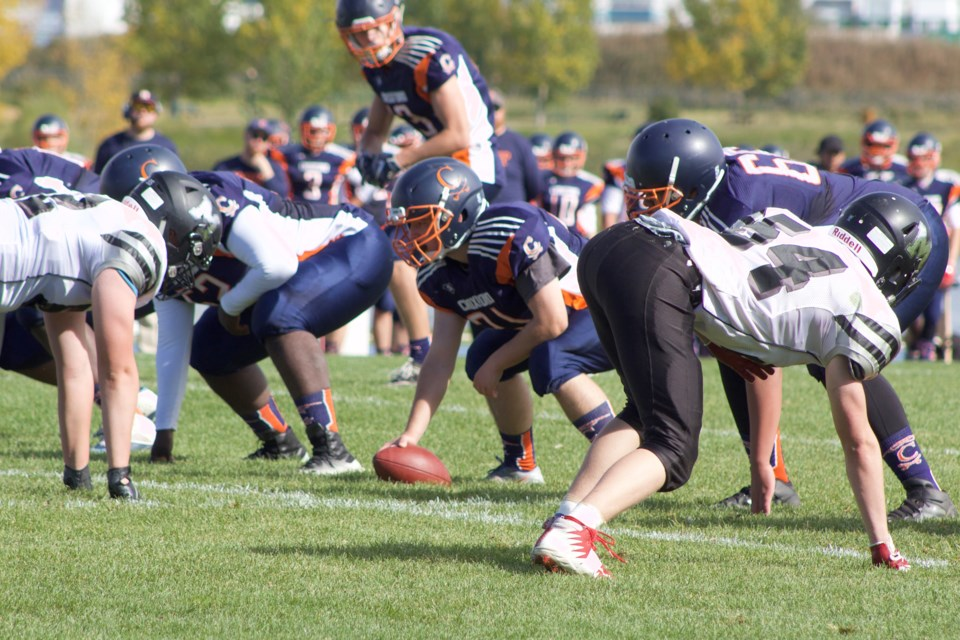 The W.H. Croxford Cavaliers earned its first win of the 2019 season Sept. 21 against the George McDougall Mustangs. Photo by Ben Sherick/Rocky View Publishing