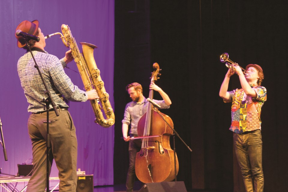 Vancouver's Tiny Island quartet took audiences at Bert Church LIVE Theatre on a musical excursion through the history of jazz Feb. 2 during the Jazzology - Family Series show. Photo by Ben Sherick/Airdrie City View