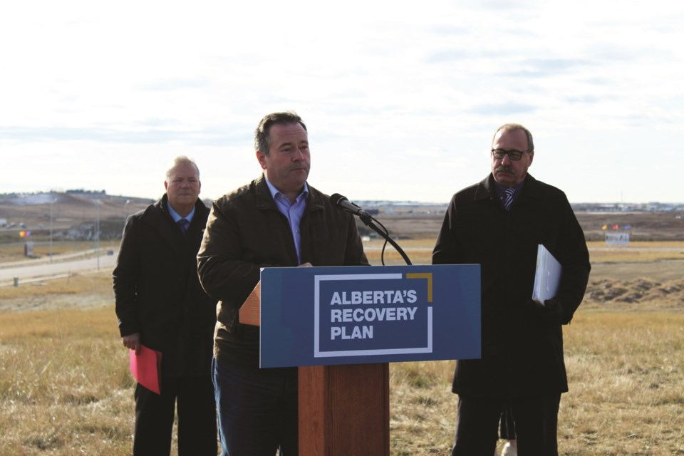Alberta Premier Jason Kenney was in Airdrie Oct. 15 to announce $21.1 million in provincial funding for the 40th Avenue and Highway 2 interchange. Photo by Scott Strasser/Airdrie City View.