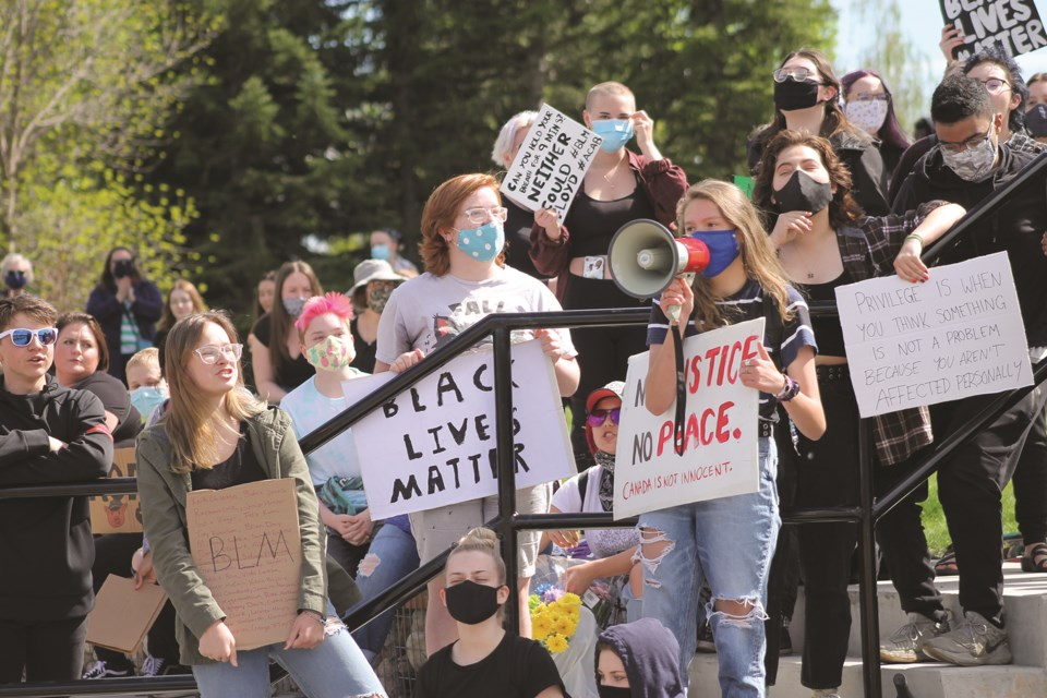 Hundreds gathered at Nose Creek Regional Park June 3 for a protest supporting the Black Lives Matter movement. Photo by Scott Strasser/Airdrie City View