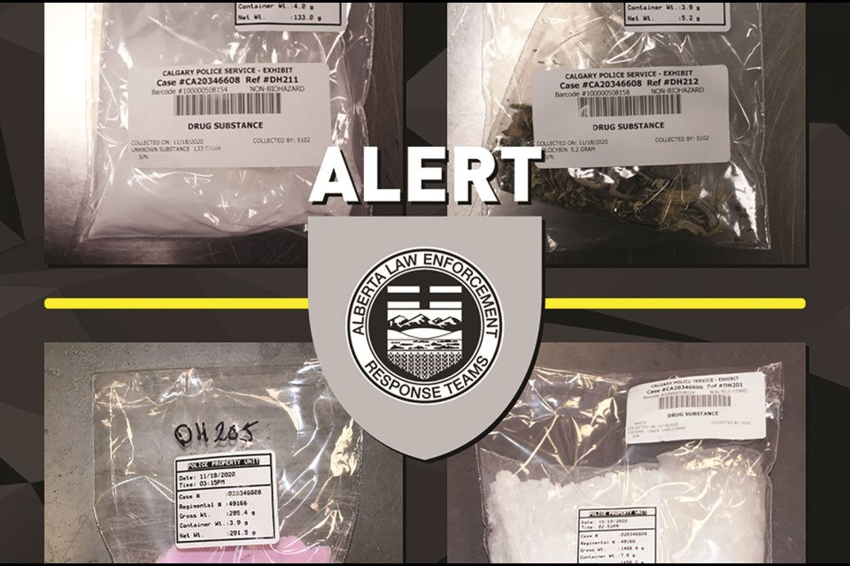 ALERT officers seized nearly 1.5 kilograms of cocaine and other powders from a rural residence near Crossfield on Nov. 18. Photo submitted/For Rocky View Weekly.