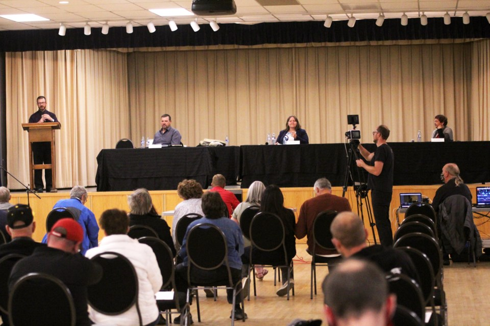 The three candidates frunning in Crossfield's byelection in fielded questions from residents at a forum Sept. 22. Photo by Scott Strasser/Rocky View Weekly.