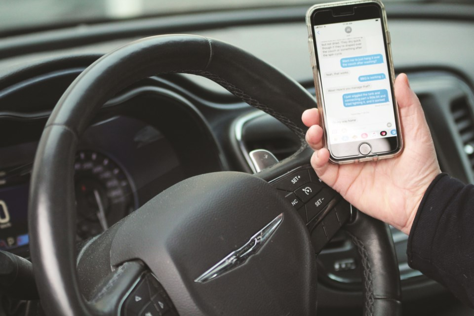 Distracted driving is a growing issue in Airdrie according to RCMP, which issued more than 1,100 tickets in 2019. Photo by Scott Strasser/Airdrie City View
