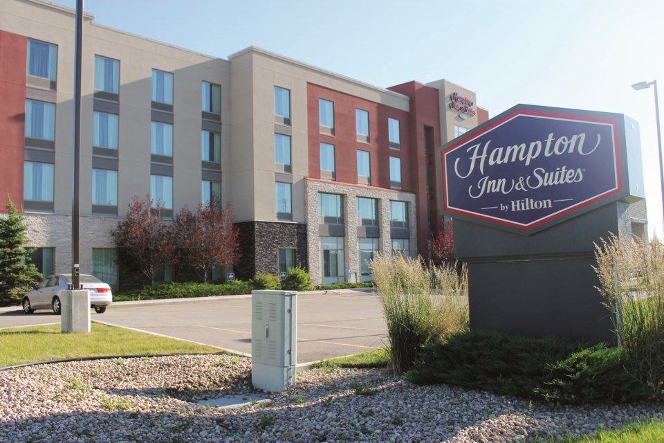 The Hampton Inn and Suites by Hilton in Airdrie has gone into receivership, according to the City of Airdrie's tourism development officer. Local hotels have struggled with low occupancy rates or closures since the onset of the COVID-19 pandemic. Photo by Scott Strasser/Airdrie City View.