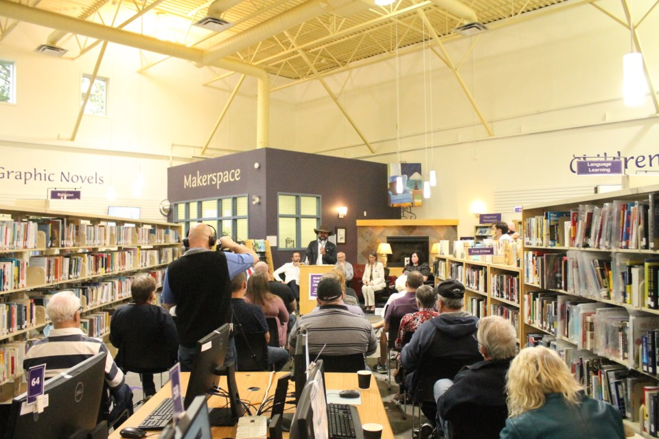 Maverick Party candidate Tariq Elnaga speaks to the crowd at the Airdrie Public Library on Sept. 8. Photo by Scott Strasser/Airdrie City View