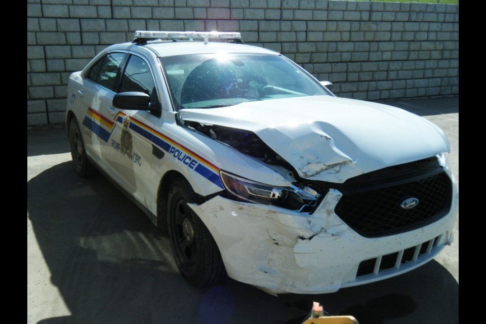 A male suspect rammed his truck into an RCMP cruiser in Chestermere June 4, before fleeing the scene on foot.  Photo Submitted/For Rocky View Publishing