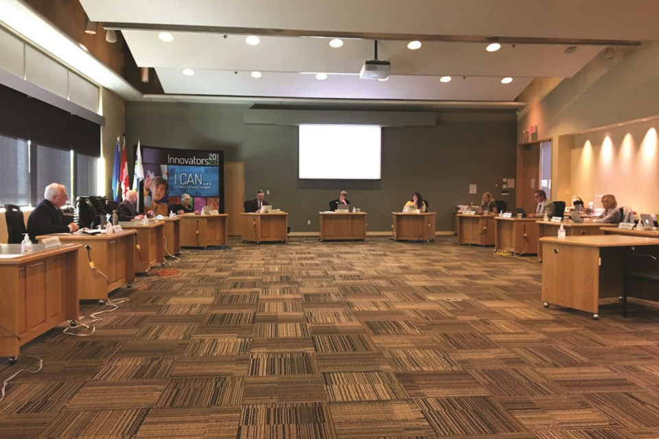 At Rocky View School's first in-person meeting in more than six months, trustees discussed the district's recent student re-entry plan. Photo by Scott Strasser/Airdrie City View.