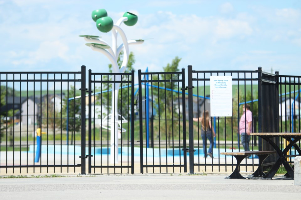 The Chinook Winds Spray Park is still closed, though Airdrie City council has endorsed the municipality opening it in some capacity this summer. Photo by Scott Strasser/Airdrie City View.
