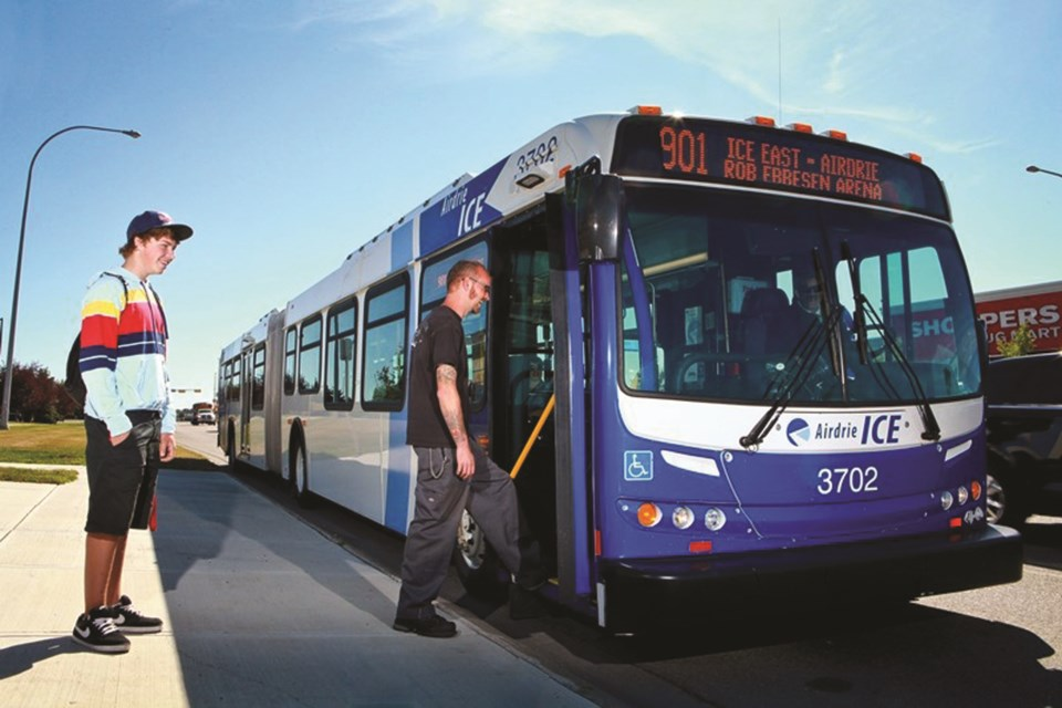 Airdrie Transit strongly encourages its riders to wear masks and will distribute them as users board buses. File photo/Airdrie City View.