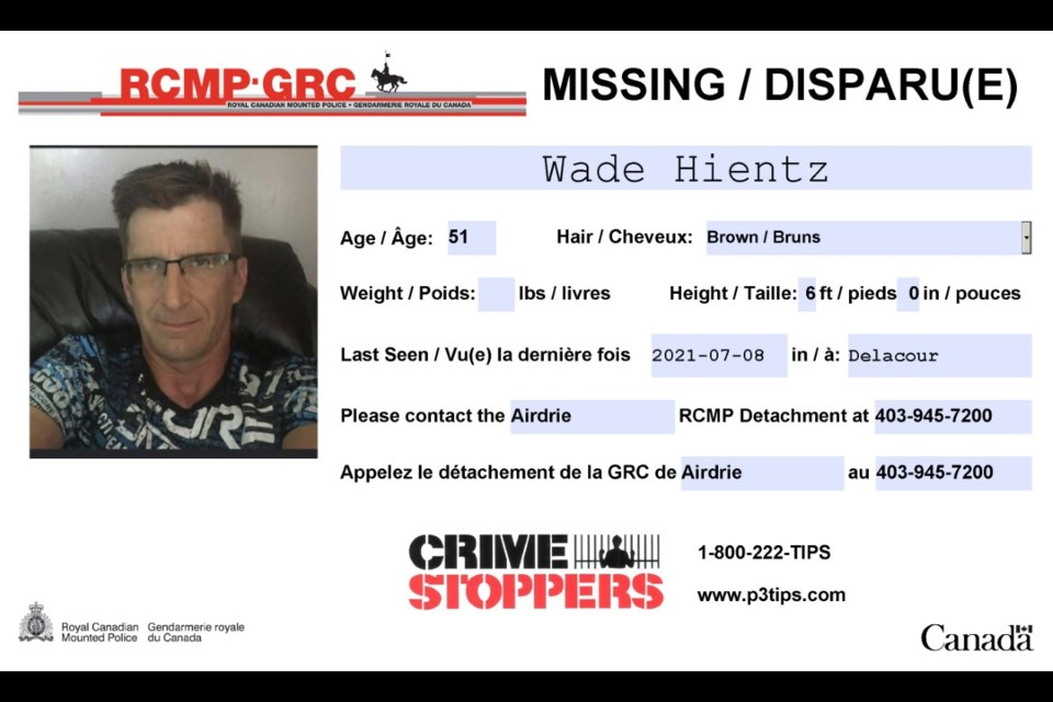 Hientz was last heard from via a text message 11 days ago, according to RCMP.