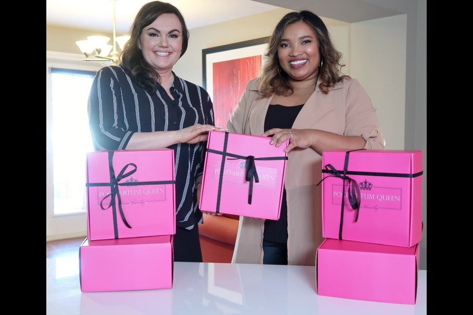 Michelle Hilsabeck (left), who resides just outside of Airdrie in Rocky View County, and Christine Bassit founded Postpartum Queen to provide new moms with the resources they need to heal after giving birth. Photo Submitted/For Rocky View Publishing