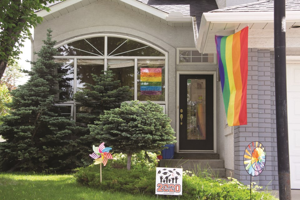The Airdrie Pride Society called on the community to decorate their houses to show support for Pride Month in Airdrie. Many residents across town displayed the pride colours in a show of solidarity. Photo by Jordan Stricker/Airdrie City View.