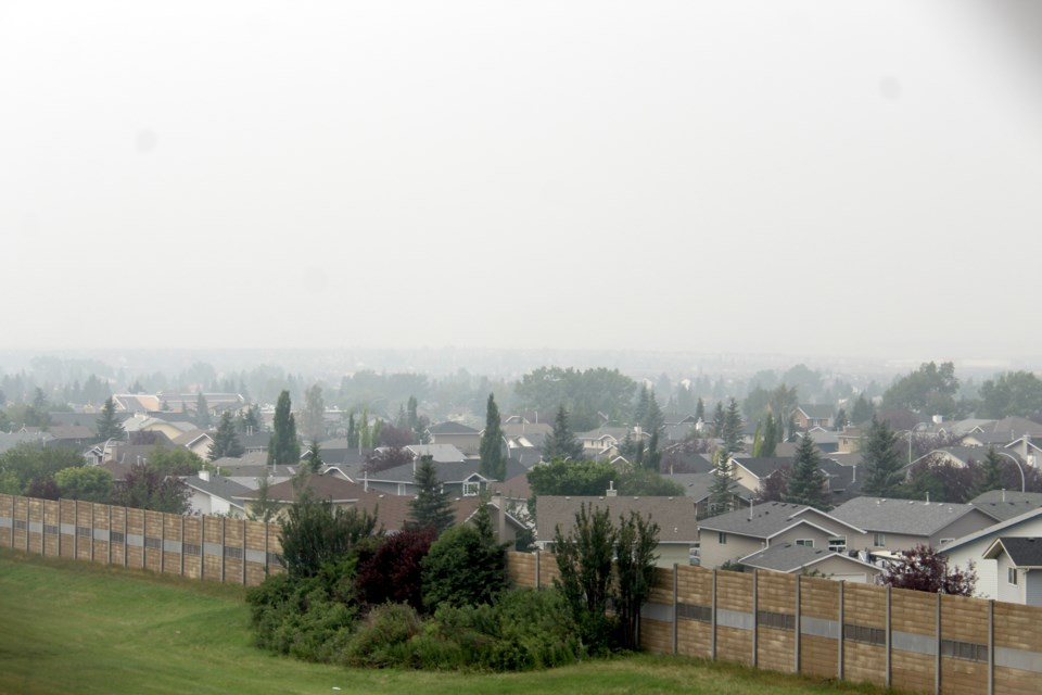 A thick haze of smoke blankets Airdrie on July 19. A special air quality advisory was issued for the city on July 17.