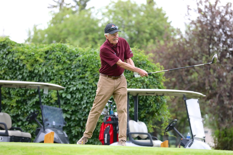 Karl Gibbie, who earned silver in the 85-plus golf tournament, was one of more than 20 athletes from Cochrane who competed at the 2019 Alberta 55-Plus Summer Games, July 4 to 7 in Medicine Hat.  Photo by Randy Feere/RJF Productions