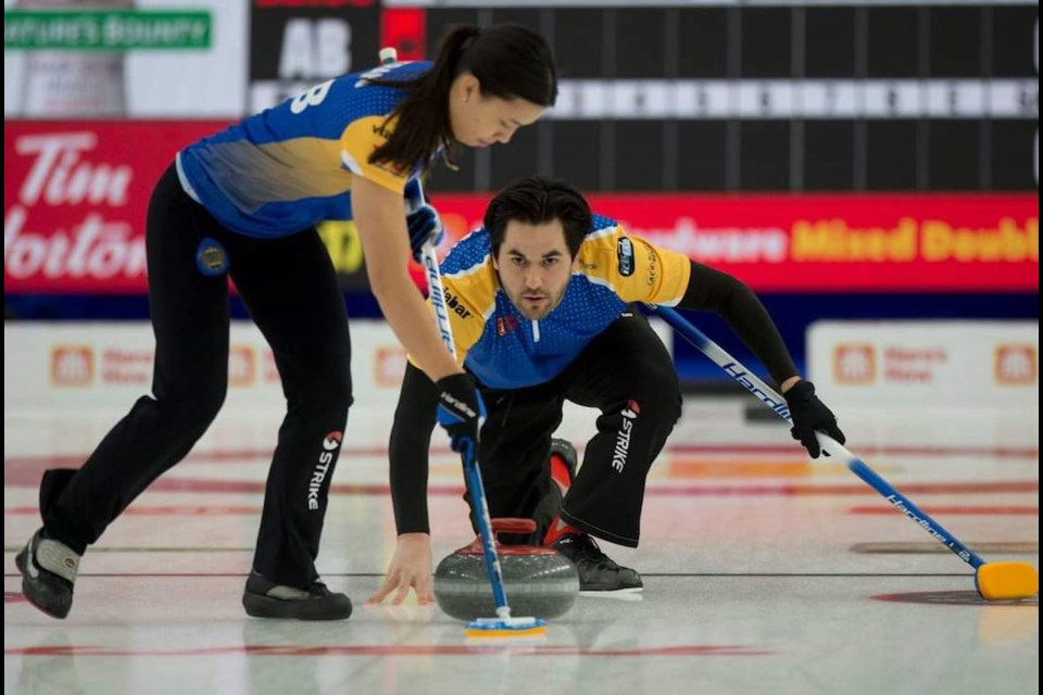 Airdrie curler Aaron Sluchinski and teammate Brittany Tran of Calgary progressed to the round of 12 before being knocked out at the 2021 mixed-doubles national championships in Calgary. Photo by Michael Burns/Curling Canada