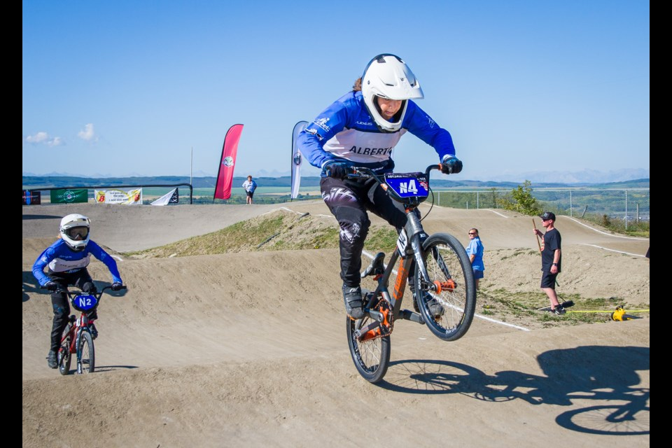 Reeve holds the N4 plate, meaning she finished fourth at the BMX national championships earlier this year. John Pohl Photography/For Rocky View Publishing