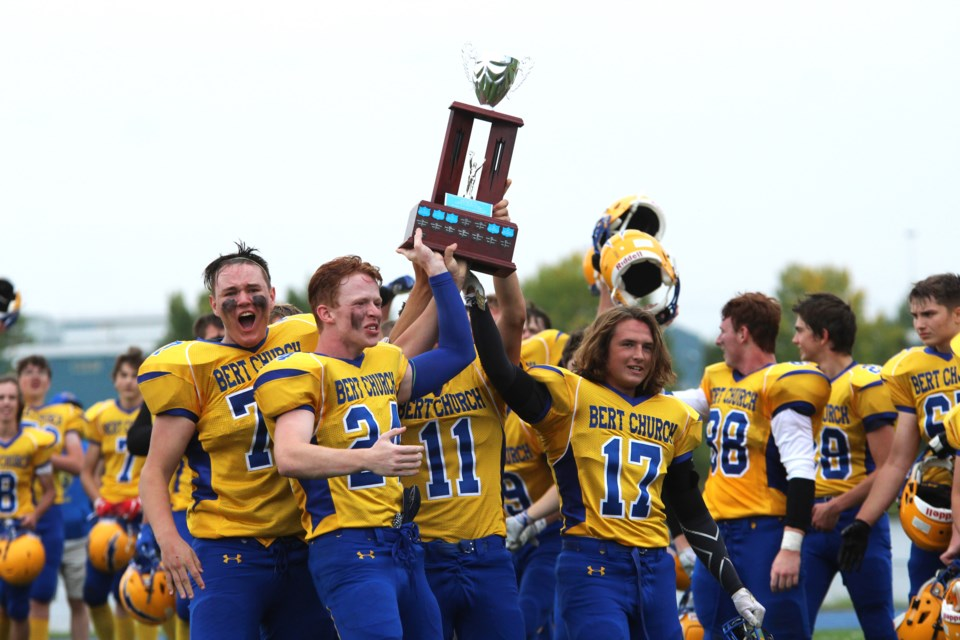 The Bert Church Chargers football team won its first Airdrie Bowl in nine years Sept. 6, emphatically downing the George McDougall Mustangs 74-6 at Ed Eggerer Athletic Park. Photo by Scott Strasser/Rocky View Publishing