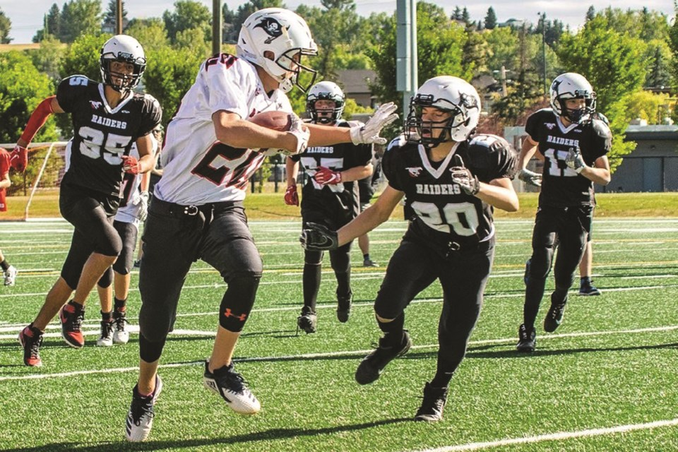 Airdrie's bantam, peewee and atom football players are relishing the chance to compete in a modified 2020 season. Photo: James Cousins/For Airdrie City View.