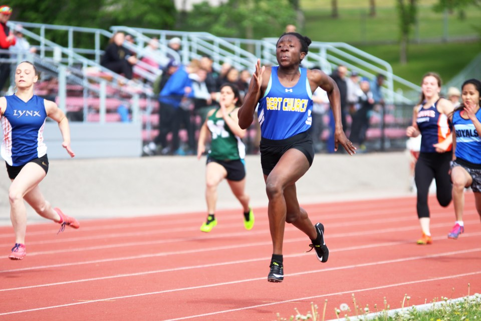 Grade-12 sprinter Princess Roberts proved she is the fastest high-school sprinter in Alberta June 7 and 8 at the ASAA provincial track and field championships in Calgary. Roberts won the gold medal in both the senior women's 100-metre (m) and 200-m sprints.  Photo by Scott Strasser/Rocky View Publishing