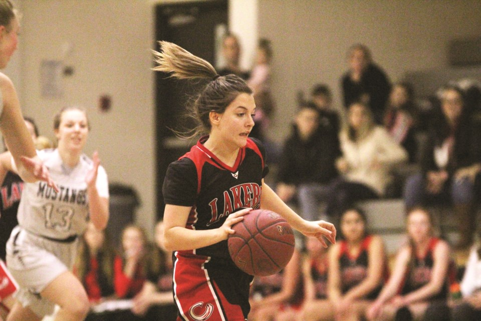 The Chestermere Lady Lakers senior basketball team played the George McDougall Mustangs Jan. 8, in the first RVSA league game following the Christmas break. Photo by Scott Strasser/Rocky View Weekly
