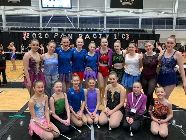 Airdrie Sky High Twirlers members pose at their last competition – the 2020 Pan Pacific Cup, hosted in Red Deer in January 2020.