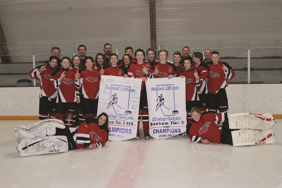 The Beiseker Blazers bantam hockey team did the small town proud, winning the CAHL Tier 3 championship in 2020. Unfortunately, the team did not get to compete at provincials due to the COVID-19 pandemic. Photo Submitted/For Rocky View Weekly