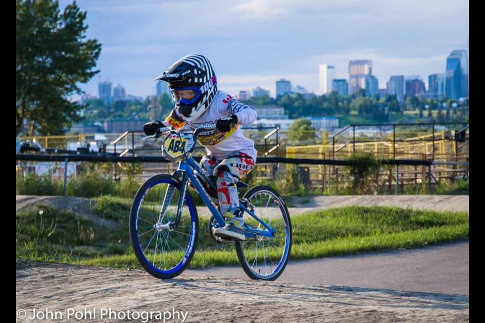 Seven-year-old Beau McHattie, of Langdon, is the N4 plate-holder for his age group. He recently competed in his second national BMX championship.  John Pohl Photography/For Rocky View Publishing