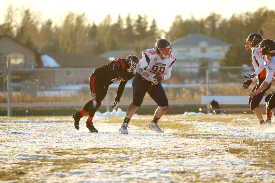 The W.H. Croxford Cavaliers lost 27-9 to the Chestermere Lakers Oct. 10, but still squeaked into the RVSA's A pool for the playoffs. Photo by Scott Strasser/Rocky View Publishing
