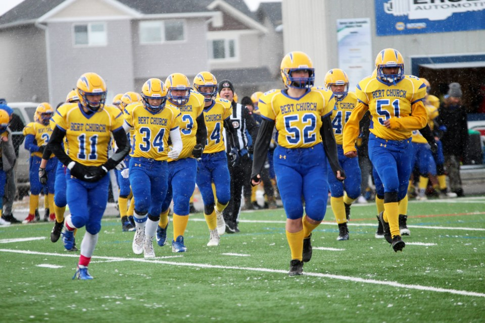 The Bert Church Chargers football team will contest the HTA Knights Nov. 16 for a spot in the 2020 Alberta Bowl. Photo by Scott Strasser/Rocky View Publishing