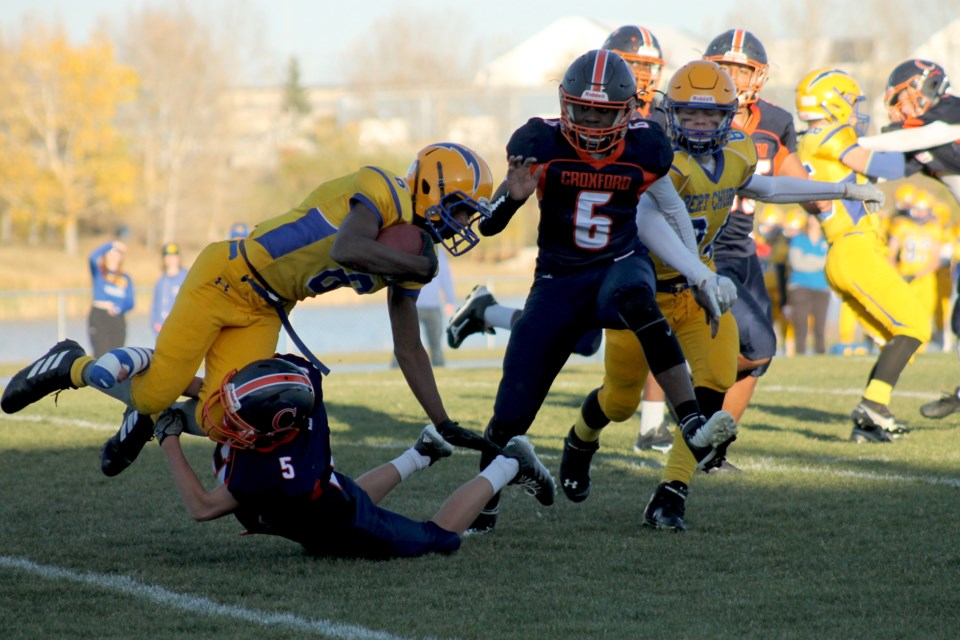 The Bert Church Chargers coasted to a confident 34-6 win over the W.H. Croxford Cavaliers on Oct. 8.