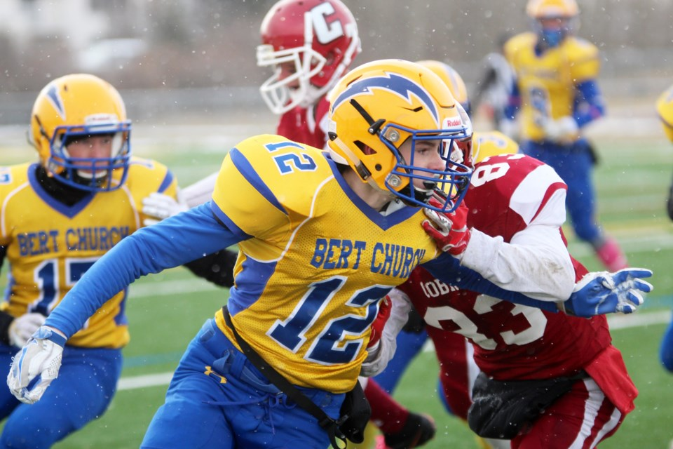 The Bert Church Chargers lost 31-7 to the Cochrane Cobras Oct. 26 in the RVSA championship game. Photo by Scott Strasser/Rocky View Publishing