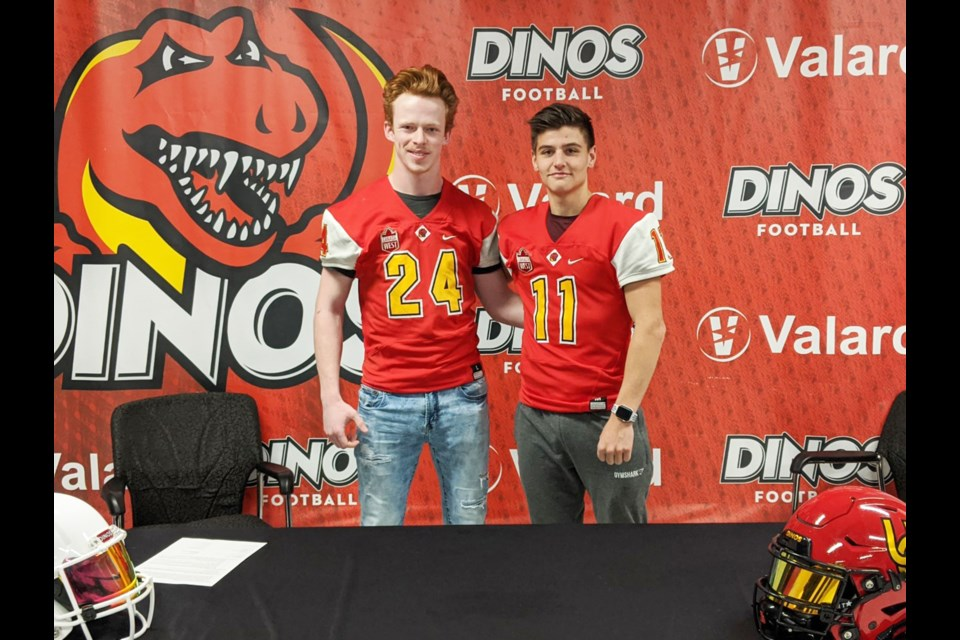 Bert Church Chargers seniors Dylan Sorsdahl (left) and Blaise Newberry (right) will join the Vanier Cup-defending University of Calgary Dinos next fall. Photo submitted/For Airdrie City View
