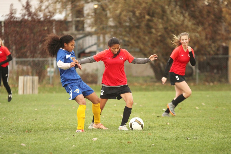 The Chestermere Lakers girls' soccer team's playoff-run ended early, with a defeat to the Bert Church Chargers Oct. 15, in the RVSA quarterfinals. Photo by Scott Strasser/Rocky View Publishing