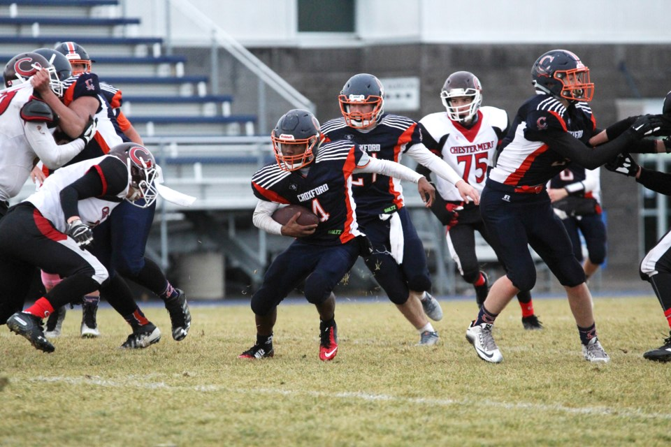 The W.H. Croxford Cavaliers football team fell 11-9 Oct. 25 in the team's RVSA B pool semi-final against the Chestermere Lakers. Photo by Scott Strasser/Rocky View Publishing