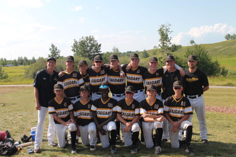 Airdrie's Dawson Proud (back row, center) was the city's only bantam-age player at a recent Alberta Baseball showcase tournament in Calgary. The 14-year-old center fielder won the tourney with the Calgary Junior Dinos. Photo submitted/For Rocky View Publishing