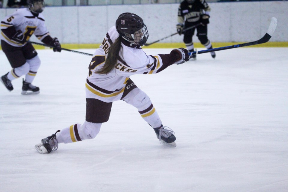 Nearly halfway through the season, the Edge is currently in first place of the CSSHL female prep division. Photo by Scott Strasser/Rocky View Publishing