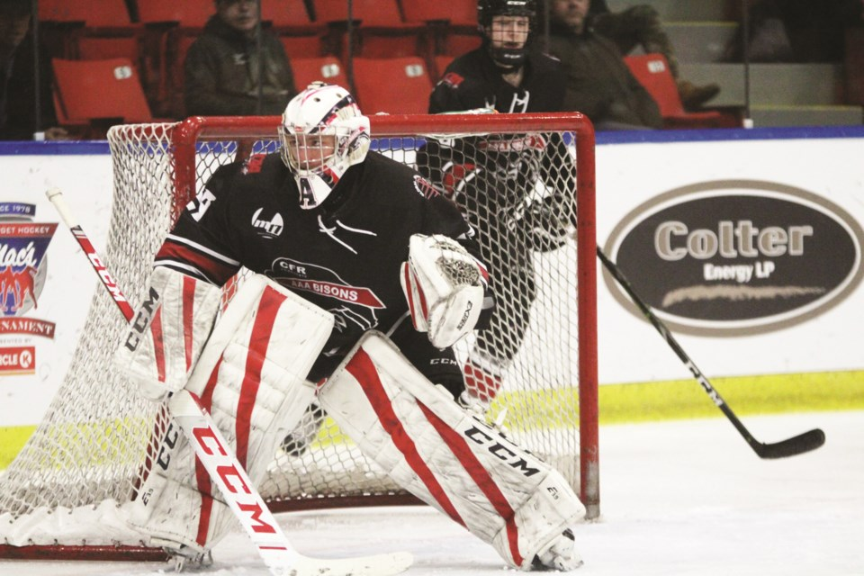 Airdrie goaltender Garrett Fuller has signed for the Drumheller Dragons junior A hockey team. Photo by Scott Strasser/Airdrie City View.