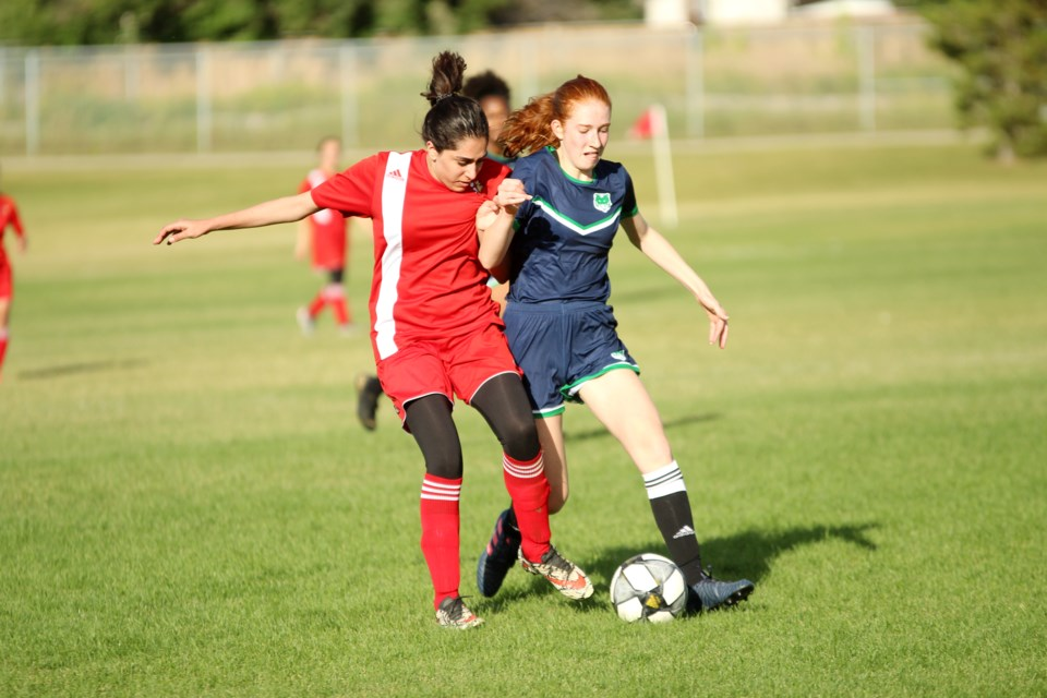 The St. Martin de Porres Kodiaks started the 2019 season with a 1-1 draw against the Lester B. Pearson Patriots Sept. 12.  Photo by Scott Strasser/Rocky View Publishing