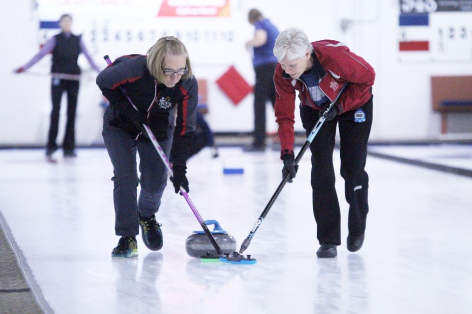 The Airdrie Curling Club's fifth annual Grannyspiel returned to the community Nov. 16, featuring more than a dozen senior women's curling rinks. Photo by Scott Strasser/Rocky View Publishing