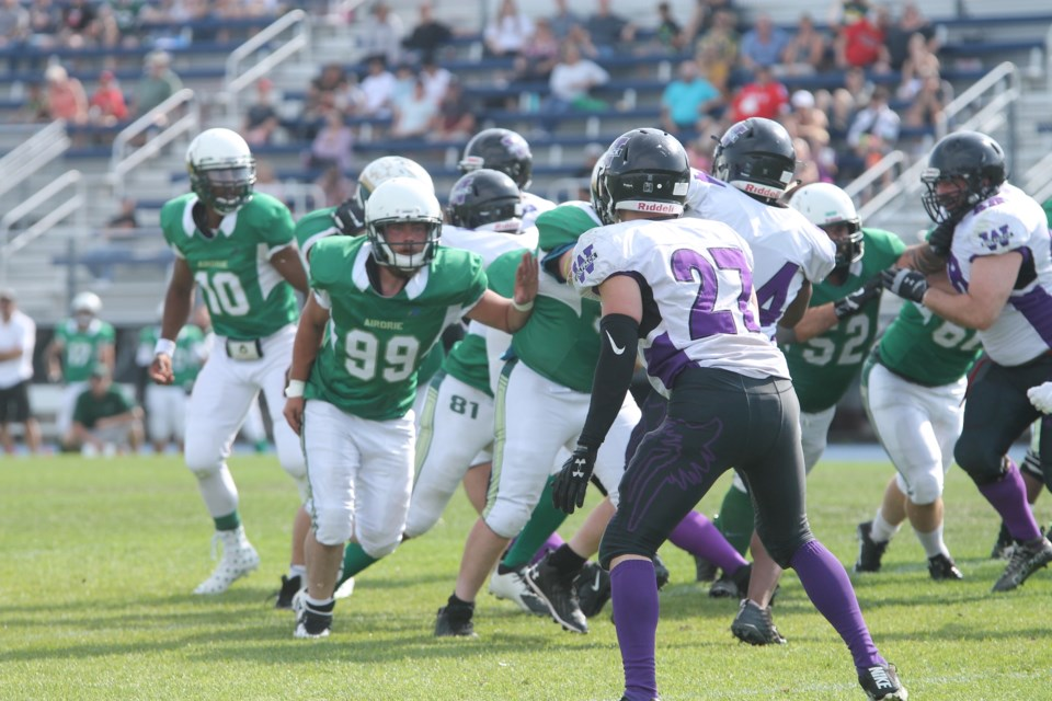 The Airdrie Irish overcame the Calgary Wolfpack 77-32 on Aug. 7 to claim the team's first AFL victory since Aug. 11, 2018. Photo by Scott Strasser/Airdrie City View