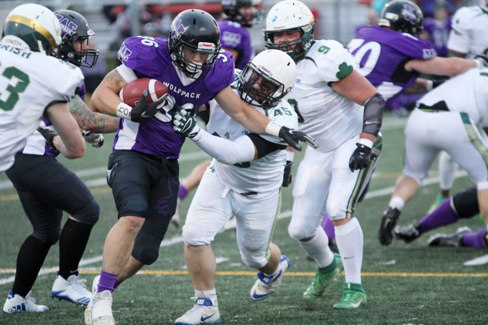 The Airdrie Irish's 2019 season came to an end Aug. 17, with a 31-14 loss to the Calgary Wolfpack in the first game of the Alberta Football League playoffs. Photo by Scott Strasser/Rocky View Publishing